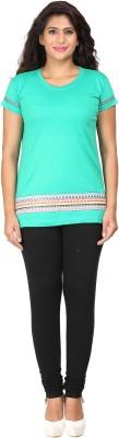 Habitude Casual, Sports Short Sleeve Printed Women's Green Top