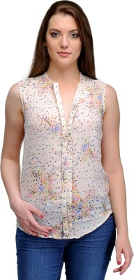 India Inc Casual Sleeveless Printed Women's Pink Top