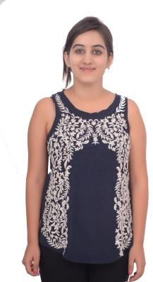 #Lets Selfie Beach Wear Sleeveless Embroidered Women's Blue Top