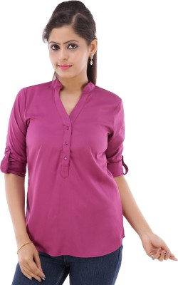 Fille Divin Casual 3/4 Sleeve Solid Women's Pink Top