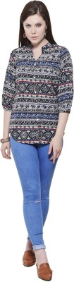 Fugue Casual 3/4 Sleeve Solid Women's Multicolor Top