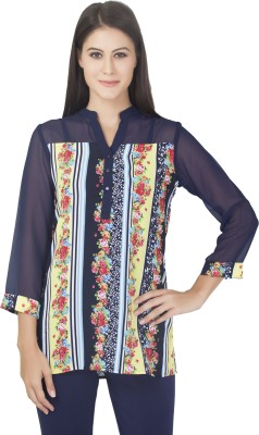 Fashionforever Casual 3/4 Sleeve Printed Girl's Dark Blue Top