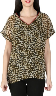 Isadora Casual Short Sleeve Animal Print Women's Brown Top
