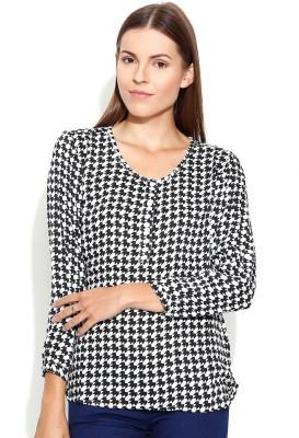 Shopaholic Casual Full Sleeve Printed Women's Black, White Top