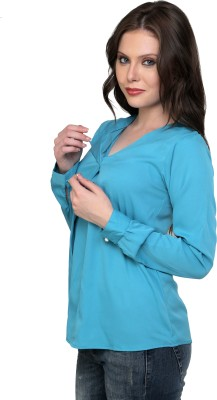 Jake Chiramel Casual Full Sleeve Solid Women's Blue Top