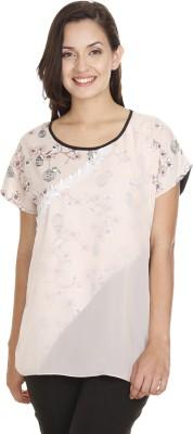 Meiro Formal Short Sleeve Printed Women's Beige Top at flipkart