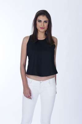 Lisova Casual Sleeveless Solid Women,s Black Top