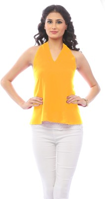 Pinwheel Lounge Wear Sleeveless Solid Women's Yellow Top