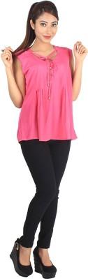 Jiyami Creations Party Sleeveless Self Design Girl's Pink Top