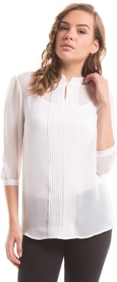 Shuffle Casual 3/4 Sleeve Solid Women's White Top