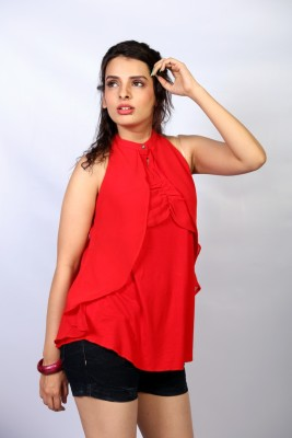 IRTALUCY Casual Sleeveless Solid Women's Red Top
