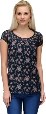 Curvy Q Casual Short Sleeve Floral Print Women's Blue Top