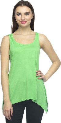 Bantry Casual Sleeveless Solid Women's Green Top