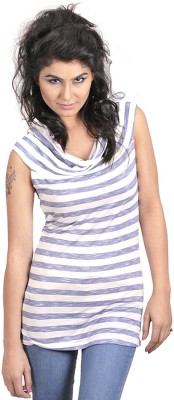 My Hollywood Shop Casual Sleeveless Striped Women's White Top