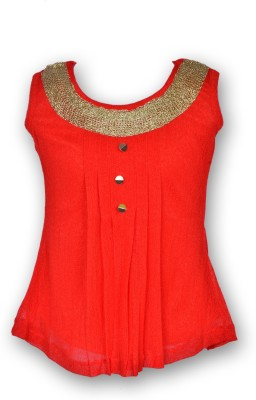 Gee & Bee Casual Sleeveless Solid Girl's Red Top