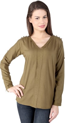pinklady Casual 3/4 Sleeve Solid Women's Green Top
