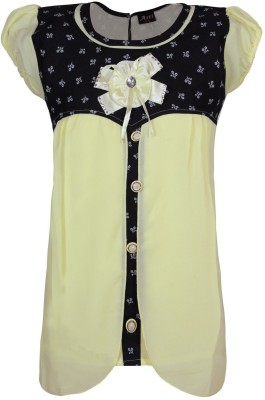 Jazzup Casual Short Sleeve Printed Girl's Yellow Top