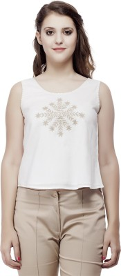 ORIANNE Casual Sleeveless Embroidered Women's White Top