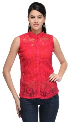 pinksisly Casual Sleeveless Solid Women's Pink Top
