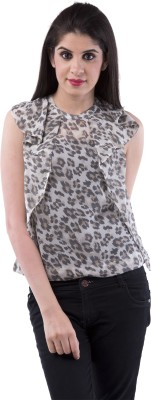 Aarr Casual Sleeveless Self Design Women's Black Top