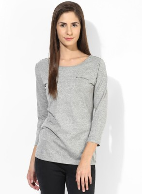T-shirt Company Casual 3/4 Sleeve Solid Women's Grey Top