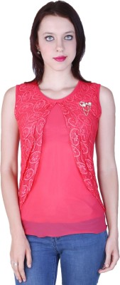 Zavi Casual Sleeveless Solid Women's Red Top
