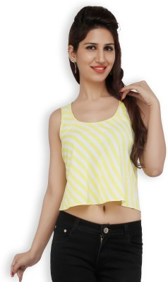 Free Spirited Casual Sleeveless Printed Women's Yellow Top