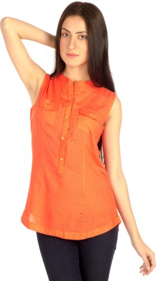 Bombay High Casual Sleeveless Solid Women's Orange Top