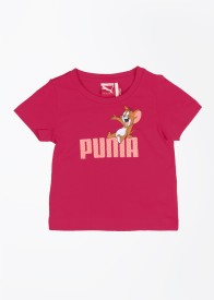 Puma Casual Short Sleeve Printed Girl's Red Top