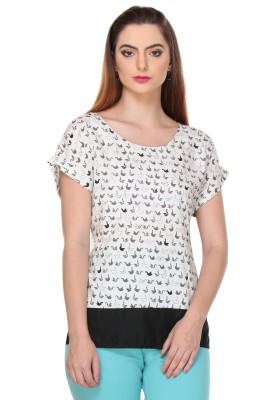W Casual Short Sleeve Printed Women's White Top at flipkart