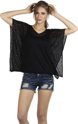 109F Casual Short Sleeve Solid Women's Black Top