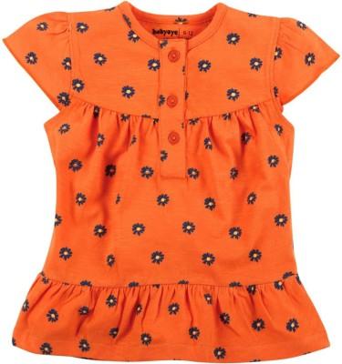 Babyoye Casual Short Sleeve Printed Girl's Orange Top