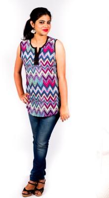 Pragati Fashions Casual Sleeveless Striped Women's Purple Top