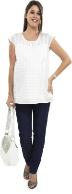Nine Maternity Wear Casual Sleeveless Solid Womens White Top