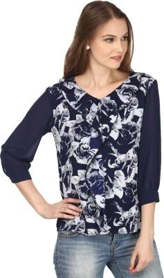 Pour Femme Casual 3/4 Sleeve Floral Print Women's Blue Top