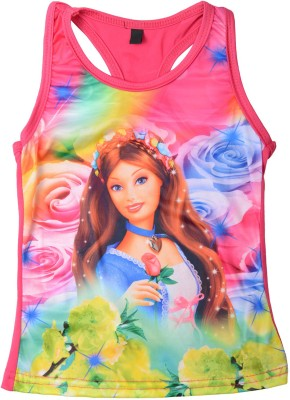 Yellow Pingo Casual Sleeveless Graphic Print Girl's Pink Top