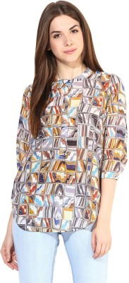 Love From India Casual 3/4 Sleeve Printed Women's Blue Top