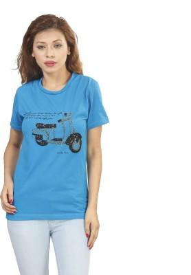 Naitik Casual Short Sleeve Printed Women's Blue Top