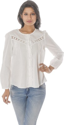 Coffee Bean Casual Full Sleeve Self Design Women's White Top