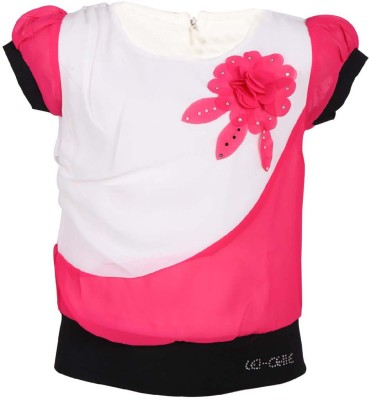 LEI CHIE Casual Short Sleeve Self Design Girl's Pink Top