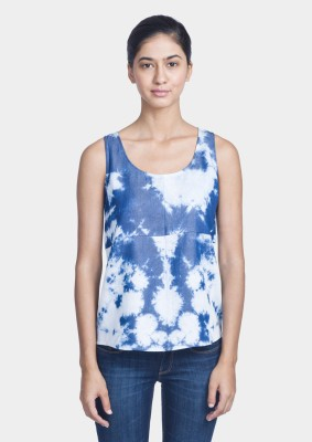 Bhane Casual Sleeveless Solid Women's Blue Top
