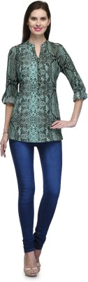 Glamdiva Party 3/4 Sleeve Animal Print Women's Dark Green Top
