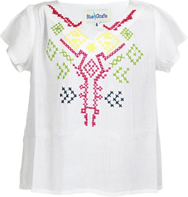 Blue Giraffe Casual 3/4 Sleeve Self Design Girl's White Top