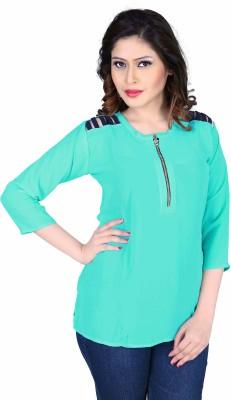 Aasvaa Casual 3/4 Sleeve Solid Women's Light Blue Top