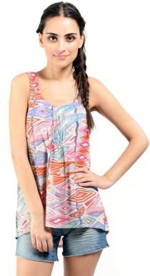 Oranje Casual Sleeveless Printed Women's Multicolor Top