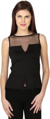 Dessara Sports Sleeveless Solid Women's Black Top