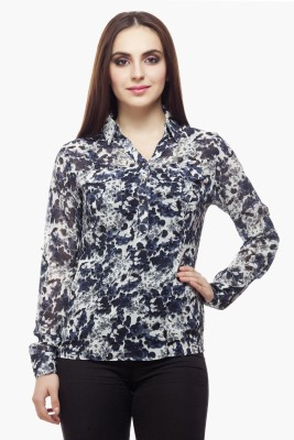 Miss Queen Casual Roll-up Sleeve Printed Women's Multicolor Top
