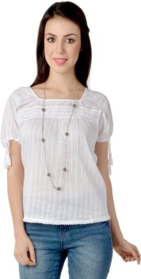 Lemon Chillo Casual Short Sleeve Self Design Women's White Top
