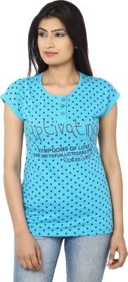 Adhaans Casual Short Sleeve Printed Women's Blue Top