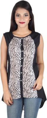 IndiFrench Moda Casual Sleeveless Self Design Women's White, Black Top